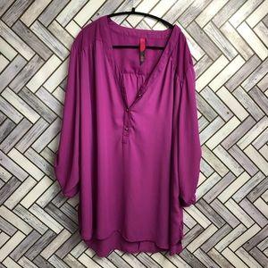 Pure Energy Purple Button Front Blouse